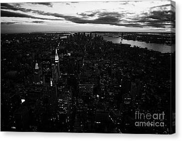 Evening Night View Of South Manhattan And Sunset Night Falling New York City Canvas Print by Joe Fox