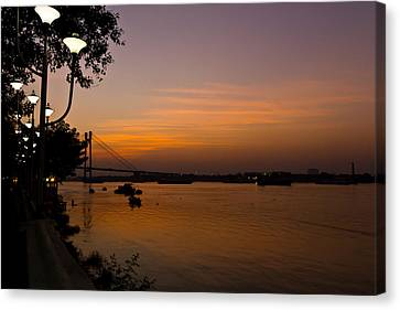 Evening On Ganga Canvas Print by Sourav Bose