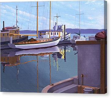 Canvas Print featuring the painting Evening On Malaspina Strait by Gary Giacomelli