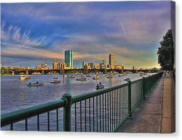 Charles River Canvas Print - Evening On The Charles - Boston Skyline by Joann Vitali
