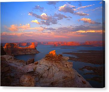 Evening On The Lake Canvas Print by Ray Mathis