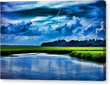 Evening On The Marsh Canvas Print by Ludwig Keck