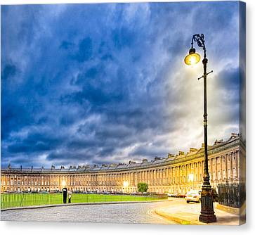 Evening On The Royal Crescent In Bath Canvas Print by Mark E Tisdale