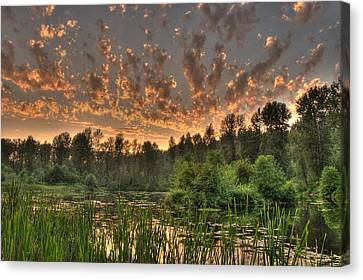 Canvas Print featuring the photograph Evening Pond by Jeff Cook