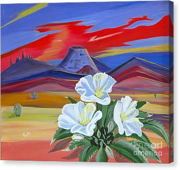 Canvas Print featuring the painting Evening Primrose by Phyllis Kaltenbach