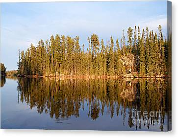 Evening Reflections On Snipe Lake 21 Canvas Print by Larry Ricker