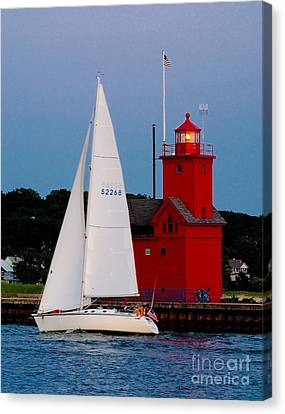 Evening Sail At Holland Light Canvas Print by Nick Zelinsky
