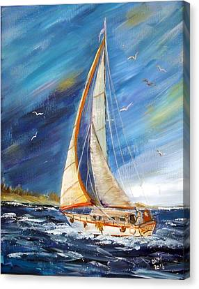 Evening Sailing Canvas Print by Dorothy Maier
