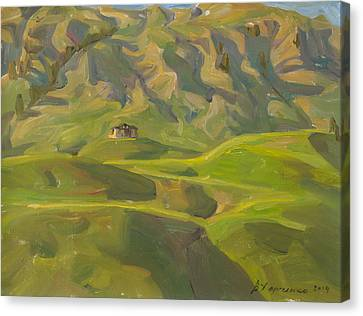 Evening Shadows Of Mountains Canvas Print by Victoria Kharchenko