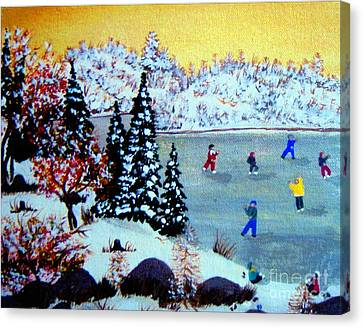 Evening Skating Canvas Print by Barbara Griffin