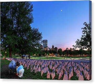 Evening Sky Over Memorial Day Flags Canvas Print