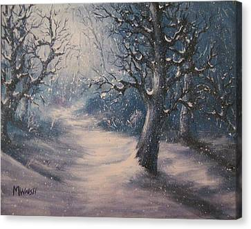 Canvas Print featuring the painting Evening Snow by Megan Walsh