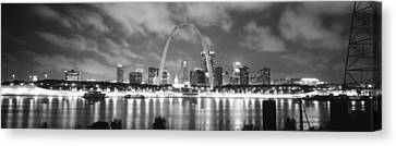 Mississippi River Canvas Print - Evening St Louis Mo by Panoramic Images