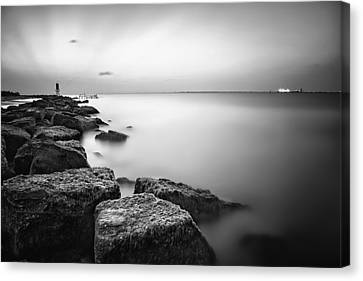 Evening Stillness Bw Canvas Print by Thomas Zimmerman