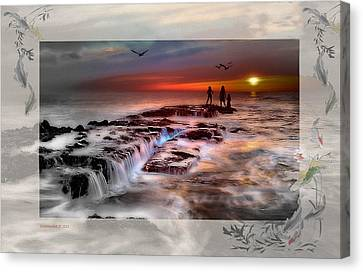 Evening Stroll At The Beach -featured In 'cards For All Occasions'comfortable Art'  'digital Veil Canvas Print by EricaMaxine  Price