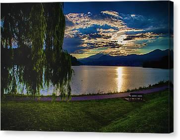 Evening Sun Kisses Lake One Last Time Canvas Print
