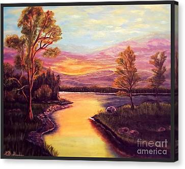Evening Sun Sets Over A Lake Somewhere Off The Gulf Of Mexico Canvas Print by Kimberlee Baxter