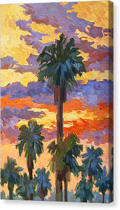 Evening Sunset And Palms Canvas Print by Diane McClary