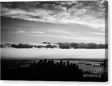 Evening Sunset View Of Lower Manhattan New York City Canvas Print by Joe Fox