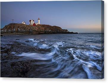 Nubble Lighthouse Canvas Print - Evening Surf At Nubble by Eric Gendron