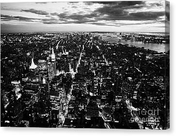Evening View Of South Manhattan And Sunset  Canvas Print by Joe Fox
