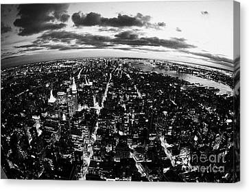 Evening View Of South Manhattan And Sunset Lower New York City Canvas Print by Joe Fox