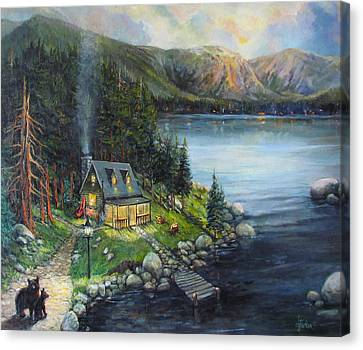 Log Cabin Canvas Print - Evening Visitors by Donna Tucker