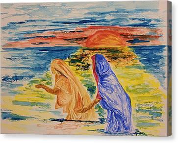 Evening Wash At The Kumbh Mela Canvas Print by Paul Morgan