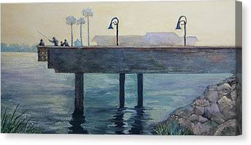 Canvas Print featuring the painting Eventide At The Oceanside Harbor Fishing Pier by Jan Cipolla