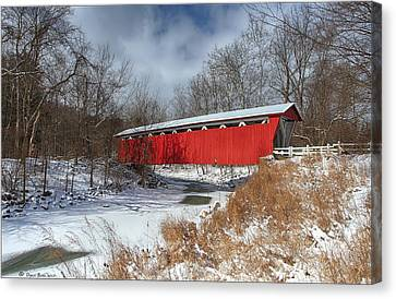 Everett Rd. Covered Bridge Canvas Print by Daniel Behm