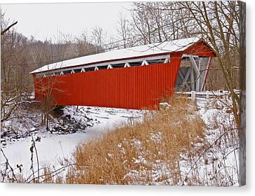 Everett Rd. Covered Bridge In Winter Canvas Print