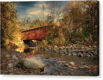Everett Rd Summit County Ohio Covered Bridge Fall Canvas Print
