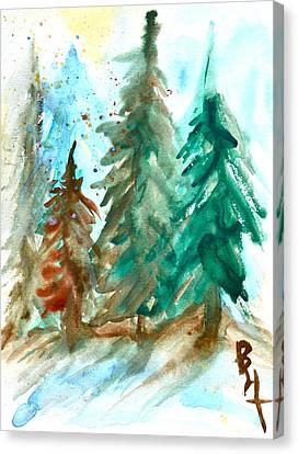 Brnch Canvas Print - Evergreen Forest by Beverley Harper Tinsley