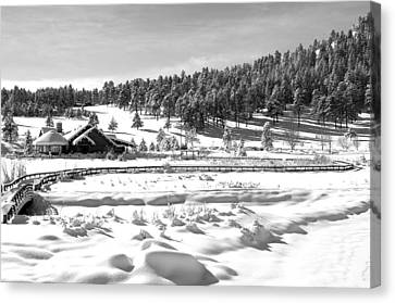 Evergreen Lake House In Winter Canvas Print by Ron White
