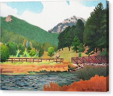 Evergreen Lake Spring Canvas Print by Dan Miller