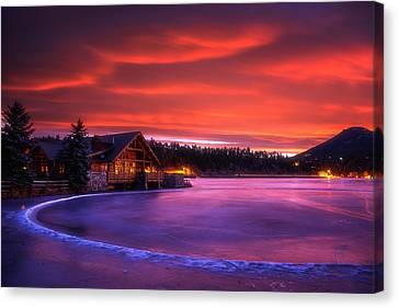 Evergreen Lake Sunrise Canvas Print by Darren  White