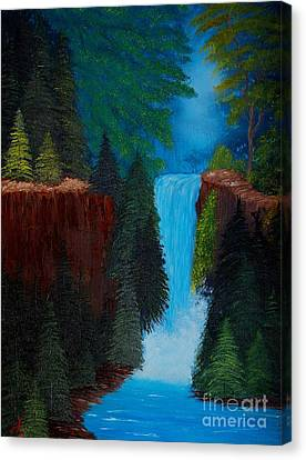 Evergreen Waterfall Canvas Print