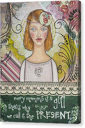 Every Moment Is A Gift  Inspirational Mixed Media Art By Stanka Vukelic Canvas Print