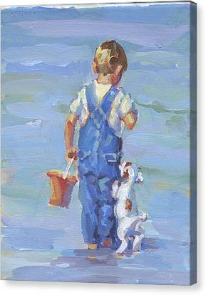 Every Puppy Needs A Boy  Canvas Print by Lucelle Raad