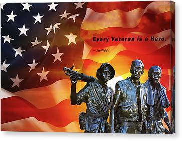 Every Veteran A Hero Canvas Print by Daniel Hagerman