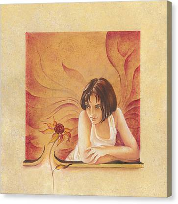 Everyday Angel With Flower Canvas Print