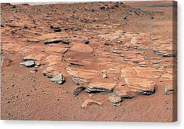 Evidence Of Water Flow On Mars Canvas Print by Nasa/jpl-caltech/msss