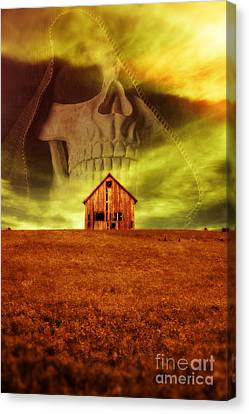 Evil Dwells In The Haunted House On The Hill Canvas Print by Edward Fielding