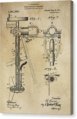Evinrude Outboard Marine Engine Patent  1910 Canvas Print by Daniel Hagerman