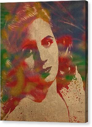 Evita Eva Peron Watercolor Portrait On Worn Distressed Canvas Canvas Print by Design Turnpike