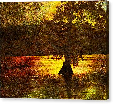 Canvas Print featuring the digital art Evocative Waterscape Sunrise by J Larry Walker