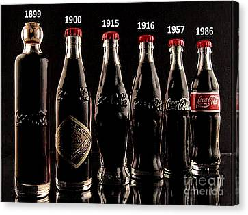 Evolution Of Coca Cola Tm Canvas Print by Merton Allen