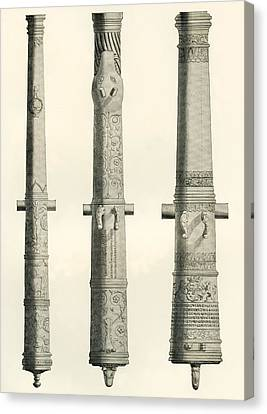 Examples Of Cannons. From Left To Right, A German Nachtigall Cannon Cast In Brunswick, Germany Canvas Print by Bridgeman Images