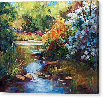 Moving Canvas Print - Exbury Spring Lake by David Lloyd Glover