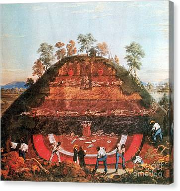 Excavation Of Indian Mound, 1850 Canvas Print